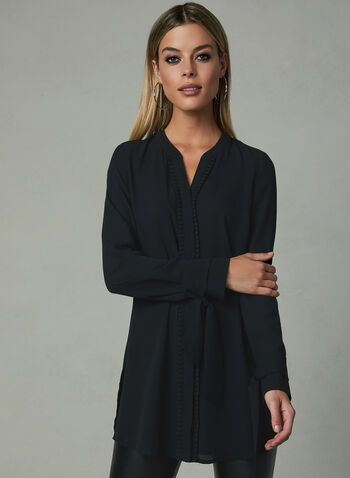 Long Sleeve Ruffle Trim Blouse, Black, hi-res