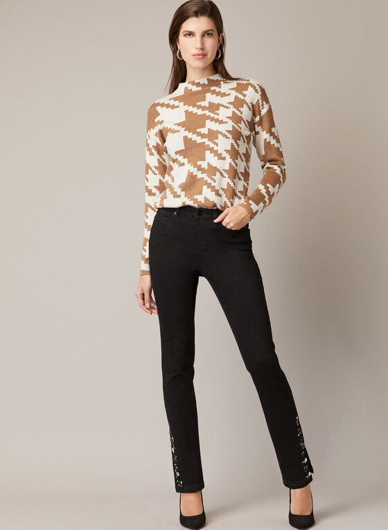 Houndstooth Print Mock Neck Sweater, Off White