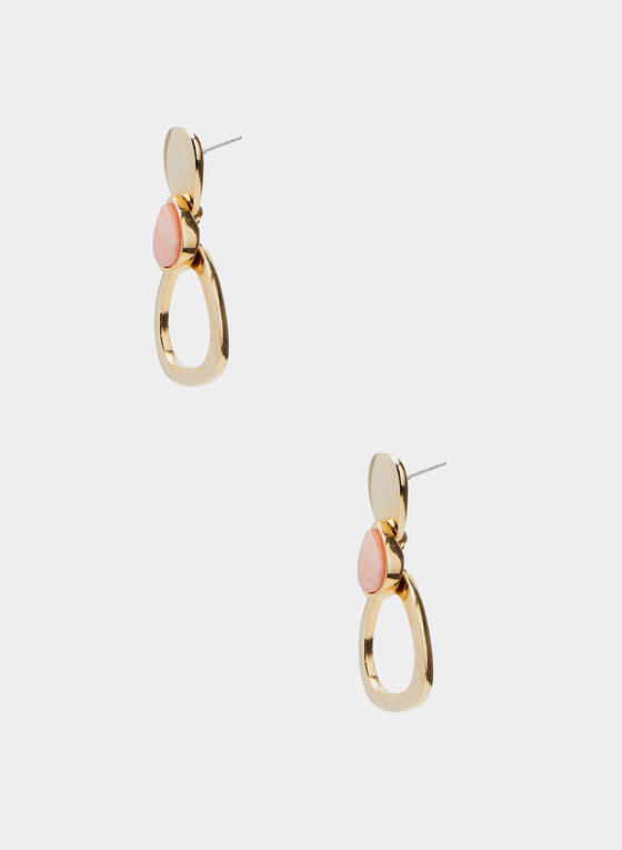 Boucles d'oreilles avec insertions de pierres, Rose, hi-res
