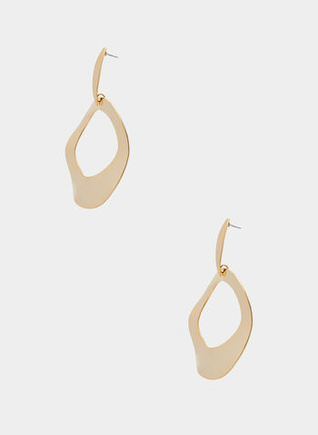 Abstract Open Circle Earrings, Gold,  earrings, circle, hammered, metallic, spring summer 2020