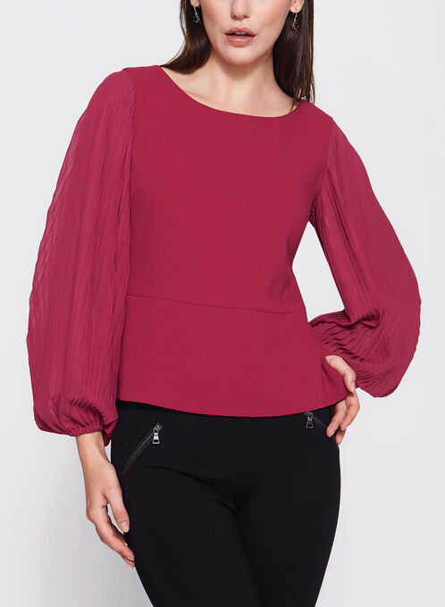 Pleated Sleeve Flared Hem Blouse , Red, hi-res