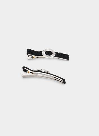 Lace Ribbon Hair Clip Set, Black, hi-res,  hair clip, lace ribbon, crystal circle, fall 2019