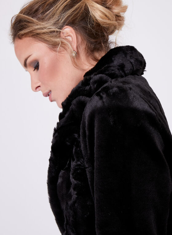 Nuage- Faux Fur Stand Collar Coat , Black, hi-res