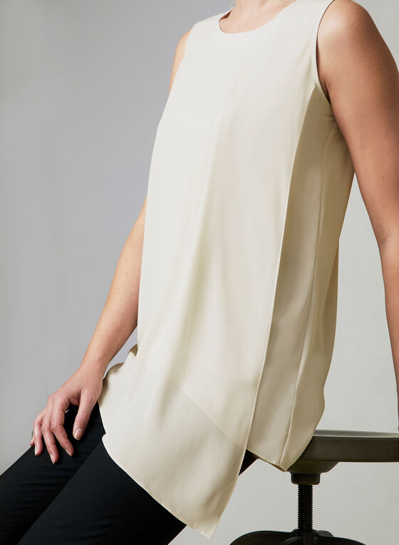 Layered Chiffon Sleeveless Blouse, Off White, hi-res