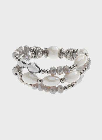Beaded Stretch Bracelet, Grey, hi-res