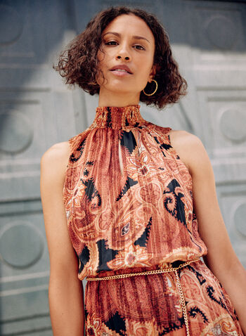 Paisley Print Midi Dress, Orange,  fall winter 2020, dresses, paisley print, midi dress, holiday, holiday 2020, gift