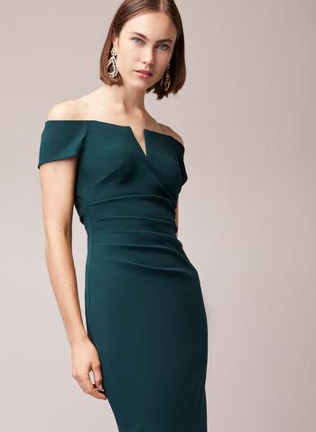 BA Nites - Robe fourreau à épaules dénudées, Vert,  robe de soirée, fourreau, col bardot, v, plissé, automne hiver 2020