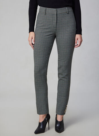 Giselle Houndstooth Print Pants, Green,  fall winter 2019, houndstooth, plaid print, slim leg,
