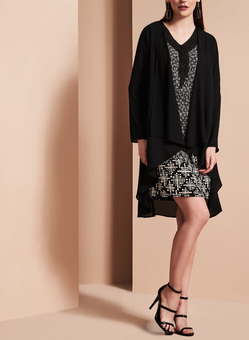 Linea Domani - Cardigan drapé en cascade, Noir, hi-res