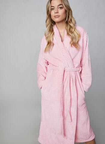 Hamilton - Ribbed Fleece Bathrobe, Pink,  Hamilton, robe, bathrobe, long sleeves, flannel, fleece, ribbed fleece, fall 2019, winter 2019