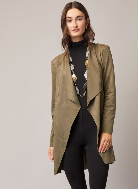 Faux Suede Open Front Jacket, Green