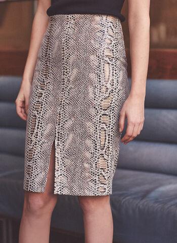 Jupe ajustée à motif serpent, Brun,  automne hiver 2020, jupe, crayon, genou, motif, peau de serpent, serpent, fente