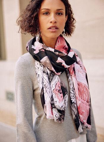 Foulard rectangulaire à motif géométrique, Rose,  accessoire, foulard, rectangle, ourlet effiloché, motif, géométrique, léger, automne 2021