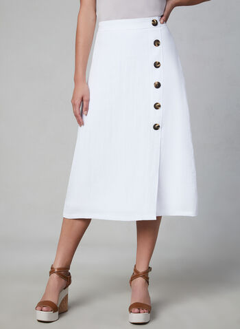 Button Detail Midi Skirt, White, hi-res,  tortoise shell, buttons, linen, spring 2019, summer 2019