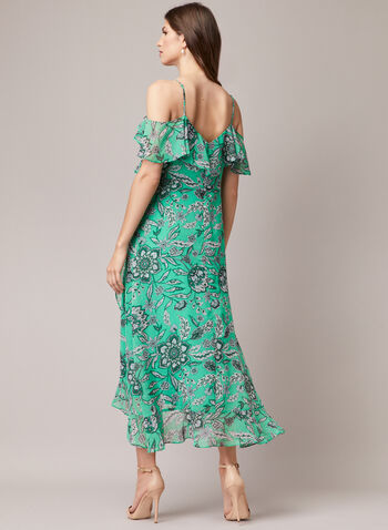 Floral Print Cold Shoulder Dress, Green,  day dress, chiffon, floral print, ruffled, spaghetti straps, high low, chiffon, spring summer 2020
