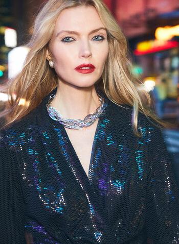 Robe longue de soirée à sequins , Noir,  automne hiver 2020, festif, robe, sequins, brillants, tricot, robes, fêtes, fêtes 2020,