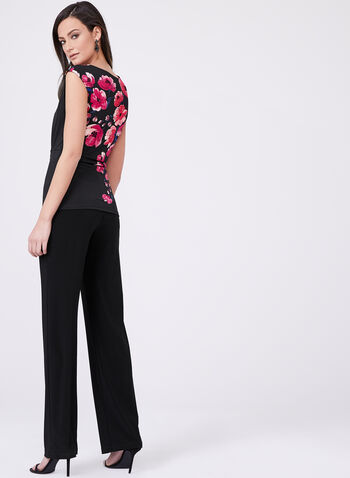 Floral Print Side Drape Top, Multi, hi-res