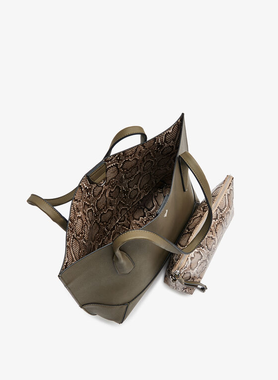 Faux Leather Snake Print Pouch Tote Bag, Green, hi-res