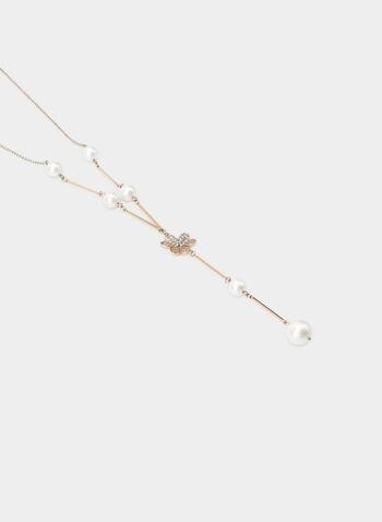 Collier en Y à détails perles et fleur, Or, hi-res,  collier, Y, perles, fleur, automne hiver 2019