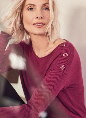 Dolman Sleeve Button Detail Sweater, Purple,  sweater, ribbed knit, dolman sleeve, button details, boat neck, spring summer 2021