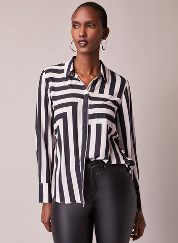 Stripe Print Button Front Blouse, Multi,  blouse, shirt collar, top, stripe print, long sleeves, crepe, fall winter 2020
