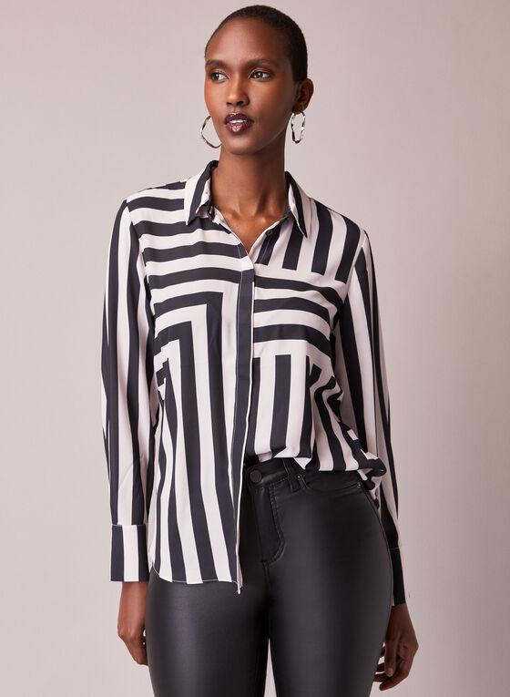 Stripe Print Button Front Blouse, Multi
