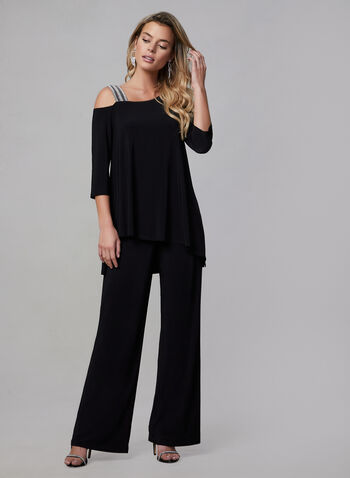 Joseph Ribkoff - Jersey Jumpsuit, Black, hi-res,  Canada, Joseph Ribkoff, jumpsuit, wide leg, elbow sleeves, jersey, asymmetrical, fall 2019, winter 2019