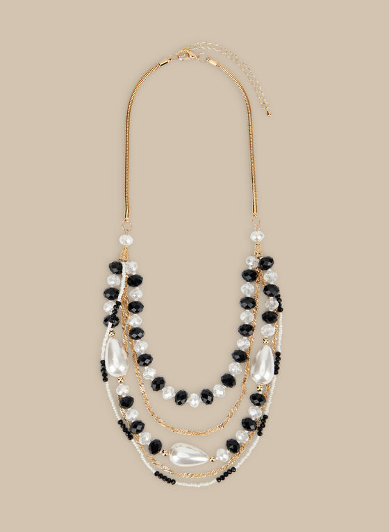 5 Row Beaded Necklace, Black