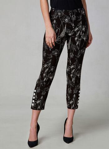 Floral Print Capri Pants, Black, hi-res,  spring 2019, stretch, pull on