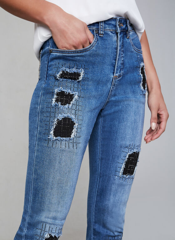 Joseph Ribkoff - Crystal Embellished Jeans , Blue, hi-res