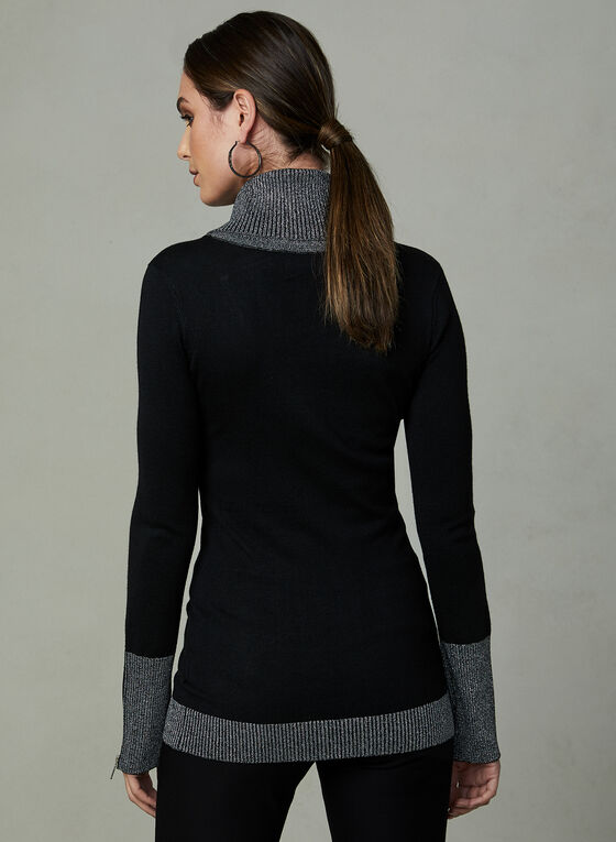 Frank Lyman - Metallic Trim Sweater, Black, hi-res