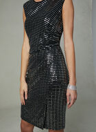 SD Collection - Ruched Sequin Dress, Black, hi-res