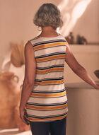 Stripe Print Sleeveless Top , Yellow