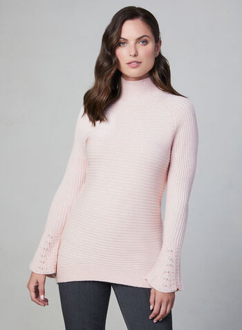 Bell Sleeve Knit Sweater, Pink,  pearls, bell sleeves, long sleeves, turtleneck, ribbed, textured, fall 2019, winter 2019