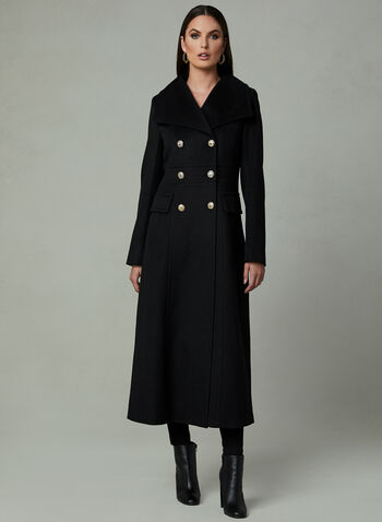 Karl Lagerfeld Paris - Long Redingote Coat, Black,