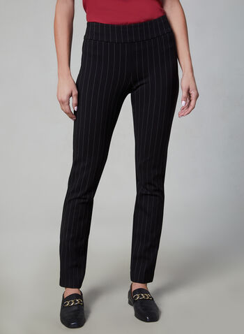 Pinstripe Madison Slim Leg Pants, Black,  slim fit, high rise, pull-on, stripe print, fall 2019, winter 2019, stretchy