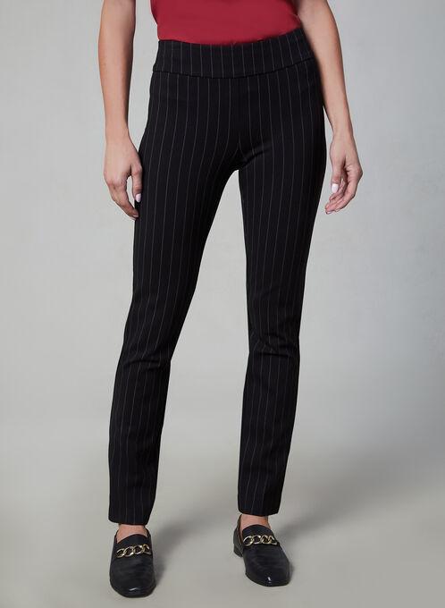 Madison Pin Stripe Slim Leg Pants, Black