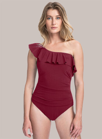 Profile by Gottex - Ruffle Detail Bathing Suit, Red,  spring summer 2021, swimwear, bathing suit, swimsuit, one piece, one shoulder,