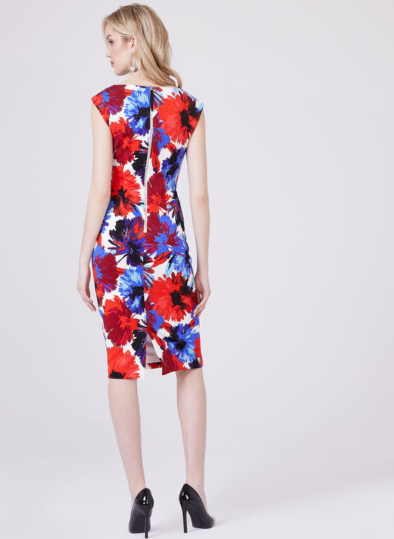 Maggy London - Robe fourreau imprimé floral, Rouge, hi-res