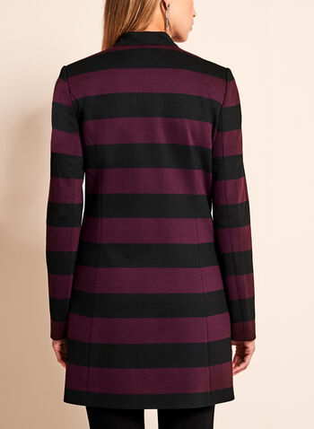 Stripe Print Ponte Jacket, Black, hi-res