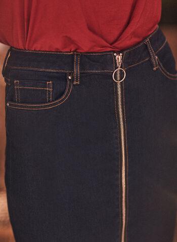 Joseph Ribkoff - Denim Pencil Skirt, Blue,  spring summer 2021, Frank Lyman, Joseph Ribkoff, pencil skirt, denim, long zipper, front, ring, pockets