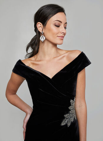 Alex Evenings - Velvet Off-the-Shoulder Dress, Black,  evening gown, off the shoulder, velvet, sweetheart neckline, bare shoulder, rhinestone, fall 2019