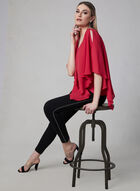 Asymmetrical V-Neck Blouse, Pink, hi-res