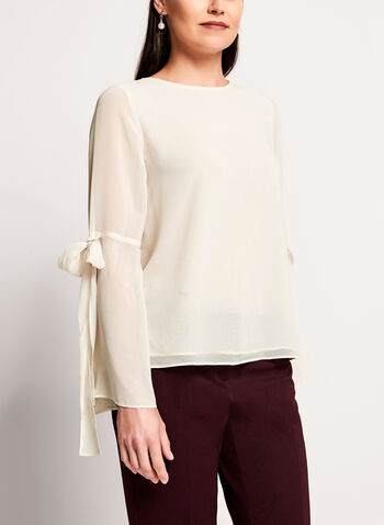 Bell Sleeve Sheer Blouse, Off White, hi-res