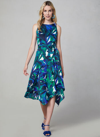 Sleeveless Floral Print Dress, Blue, hi-res,  sharkbite dress, sharkbite hemline, day dress, cocktail dress, midi dress