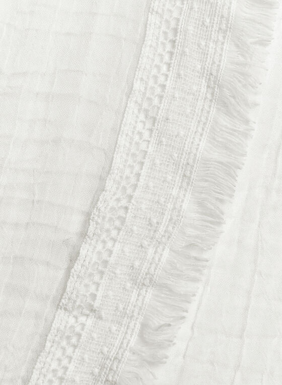 Oblong Lightweight Scarf With Fringe Detail, White, hi-res