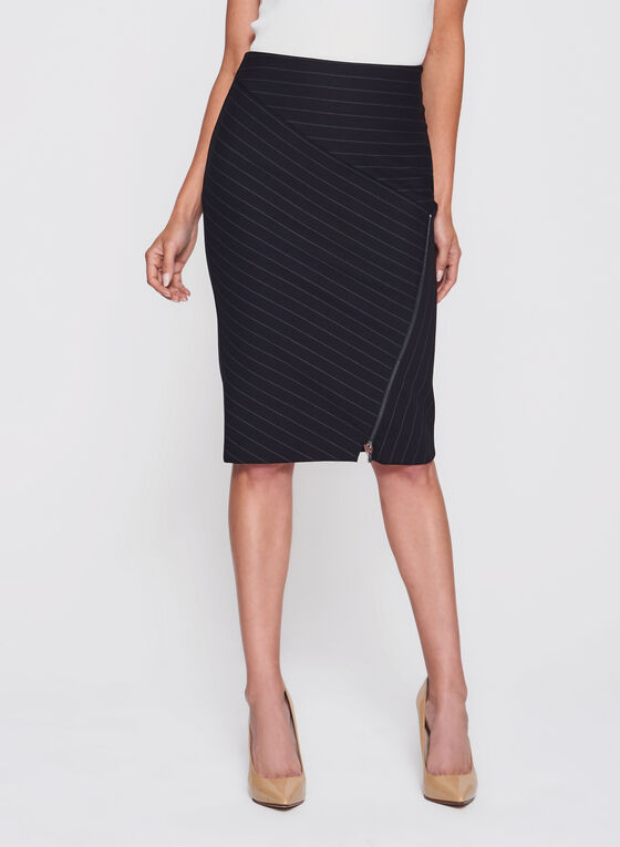 Bias Stripe Print Ponte Pencil Skirt, Black, hi-res