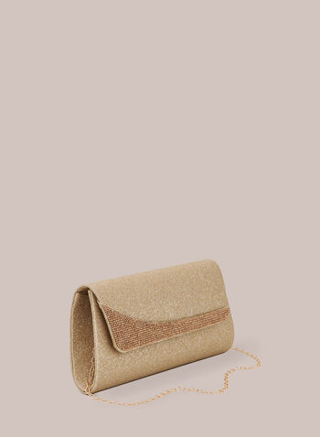 Glitter & Crystal Clutch, Gold,  spring summer 2020, glitter, crystal, flapover,