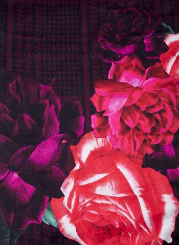 Rose & Houndstooth Print Scarf , Black, hi-res