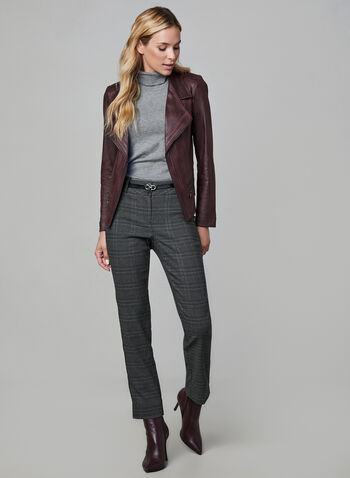 Slim Leg Plaid Print Pants, Grey, hi-res,  Ankle pants, plaid slacks